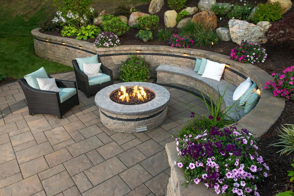 Outdoor fireplace by landscapers near me in Glastonbury CT