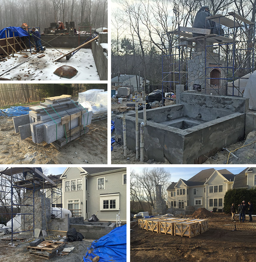 Outdoor fireplace in Farmington CT in the making