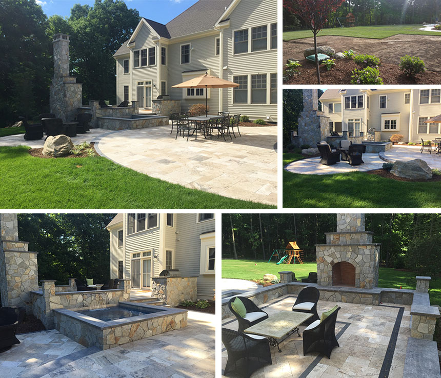 Outdoor fireplace and retaining wall in Farmington CT