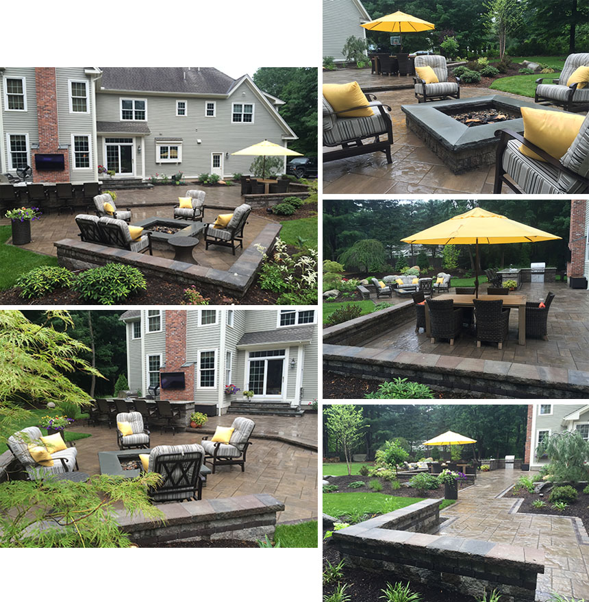 Patio with outdoor fireplace in Simsbury CT