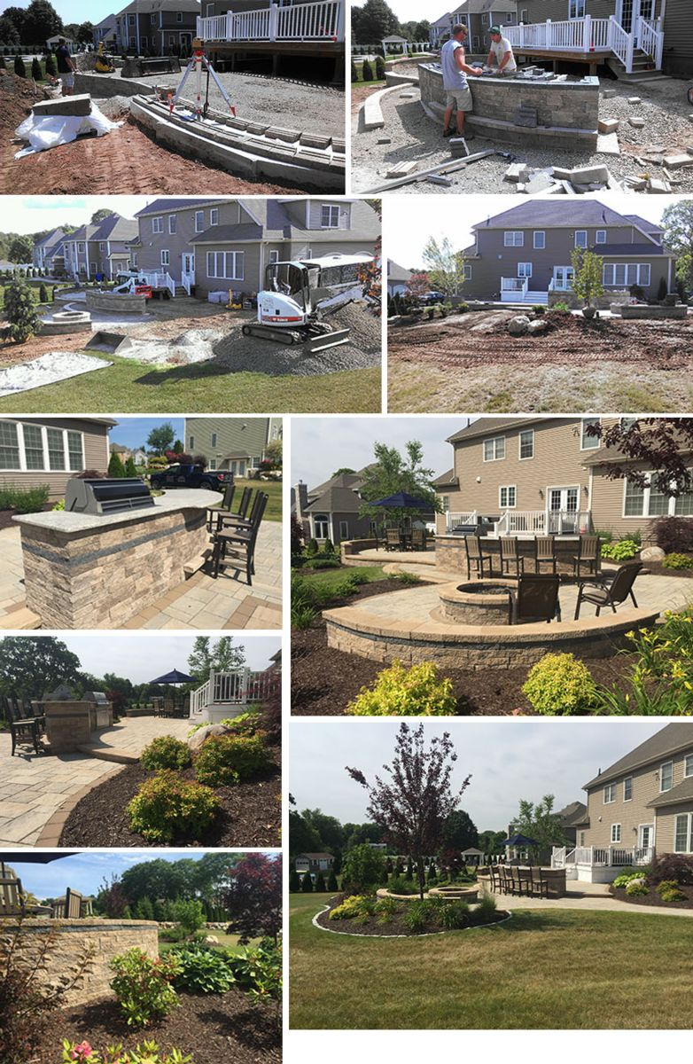 Retaining wall and outdoor fireplace in Rocky Hill CT